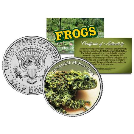 VIETNAMESE MOSSY FROG *Collectible Frogs* JFK Half Dollar US Colorized Coin COA Coin Box Coa No Coins