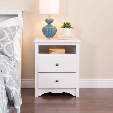 Prepac Monterey Collection Tall 2 Drawer Night Stand, White