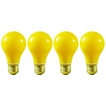 (4 Pack) 100 Watt A19 Yellow Bug Light 130V E26 Base- 100A/YB - 100A19/Y (130v Medium Screw Base)
