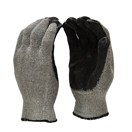 G & F 3108-10 String Knit Palm, Latex Dipped Work Gloves, Nitrile Coated Work Gloves for General Purpose, 10-Pairs Per Pack, Black, Large ()