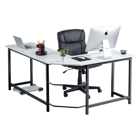 Fineboard Stylish L-Shaped Office Computer Corner Desk Elegant & Modern Design, White/Black
