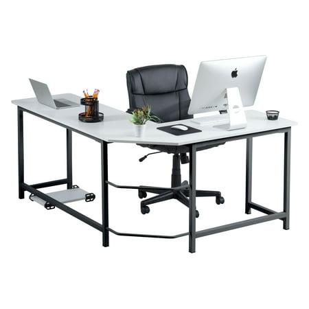 check out 576d6 c550b Fineboard Stylish L-Shaped Office Computer Corner Desk Elegant & Modern  Design, White/Black