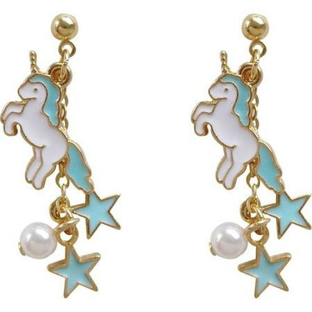 KABOER Unicorn Star Clip on Earrings  Dangle Faux Pearl non Pierced Daughter Girls Birthday Gift Dangling Faux Earrings
