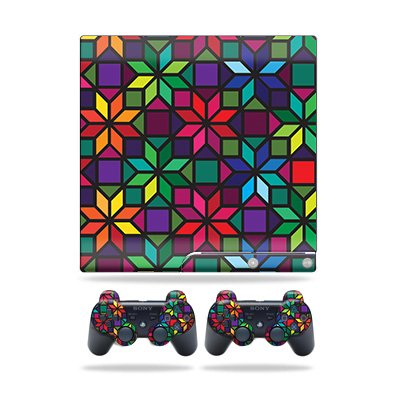 Skin Wrap for Sony Playstation 3 PS3 Slim + 2 controllers Stained Glass Window