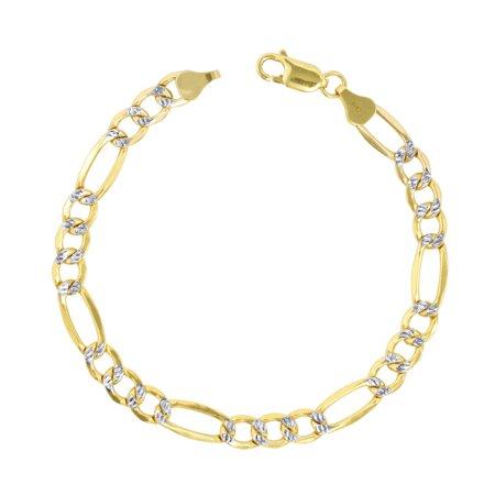 10k Yellow Gold 7.5mm Mens Solid Pave Diamond Cut Figaro Chain Bracelet 7