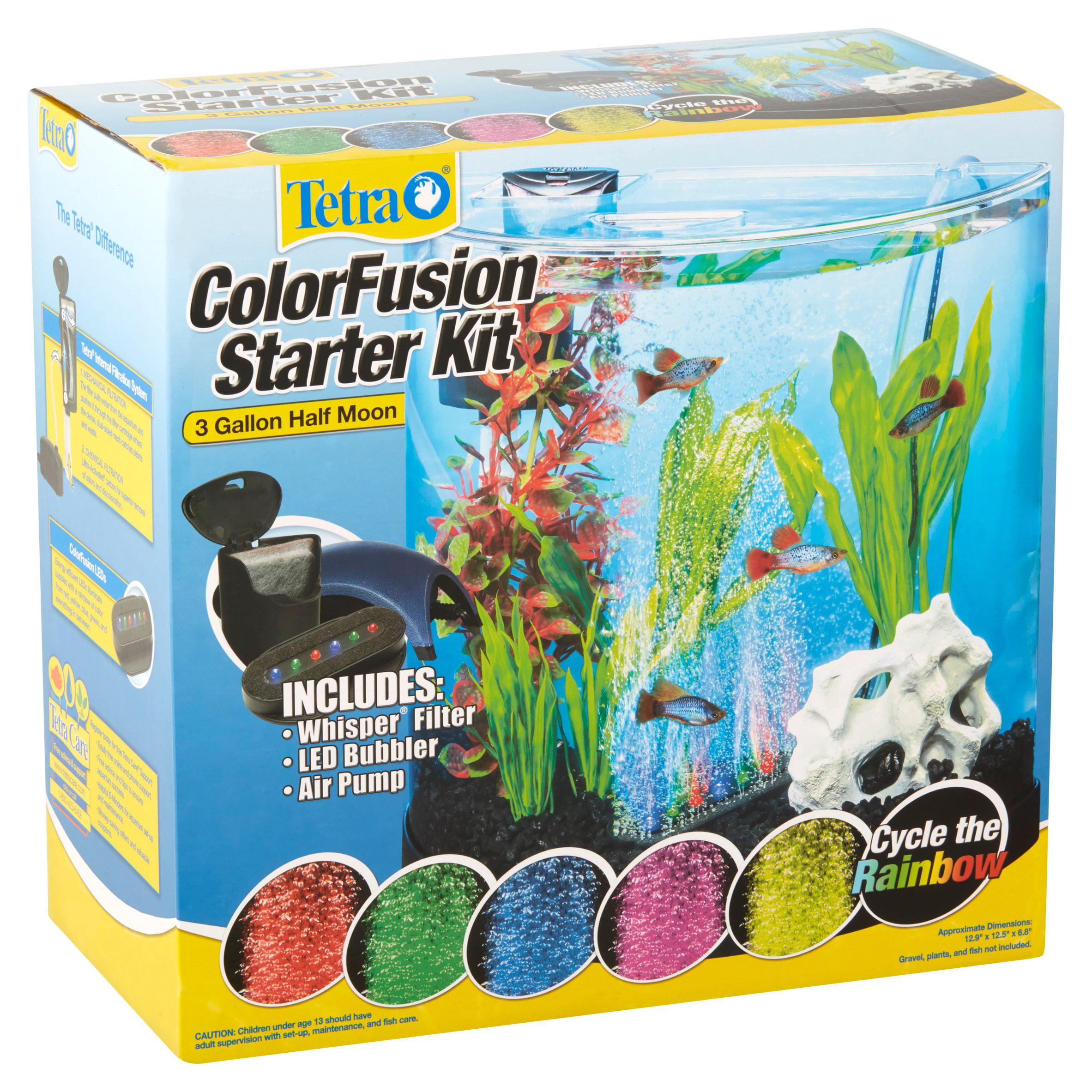 tetra colorfusion 3 gallon half moon aquarium kit with led walmart com