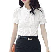 Women's Tie Bow Neck Short Sleeves Button Closure Rolled Cuffs Shirt