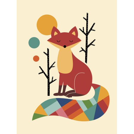 Rainbow Fox Children's Whimsical Animal Art Print Wall Art By Andy -