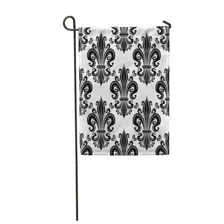 Swirling Scroll (SIDONKU Black Fleur De Lis Ornate of Victorian Leaf Scrolls with Ornamental Swirling Garden Flag Decorative Flag House Banner 12x18 inch)