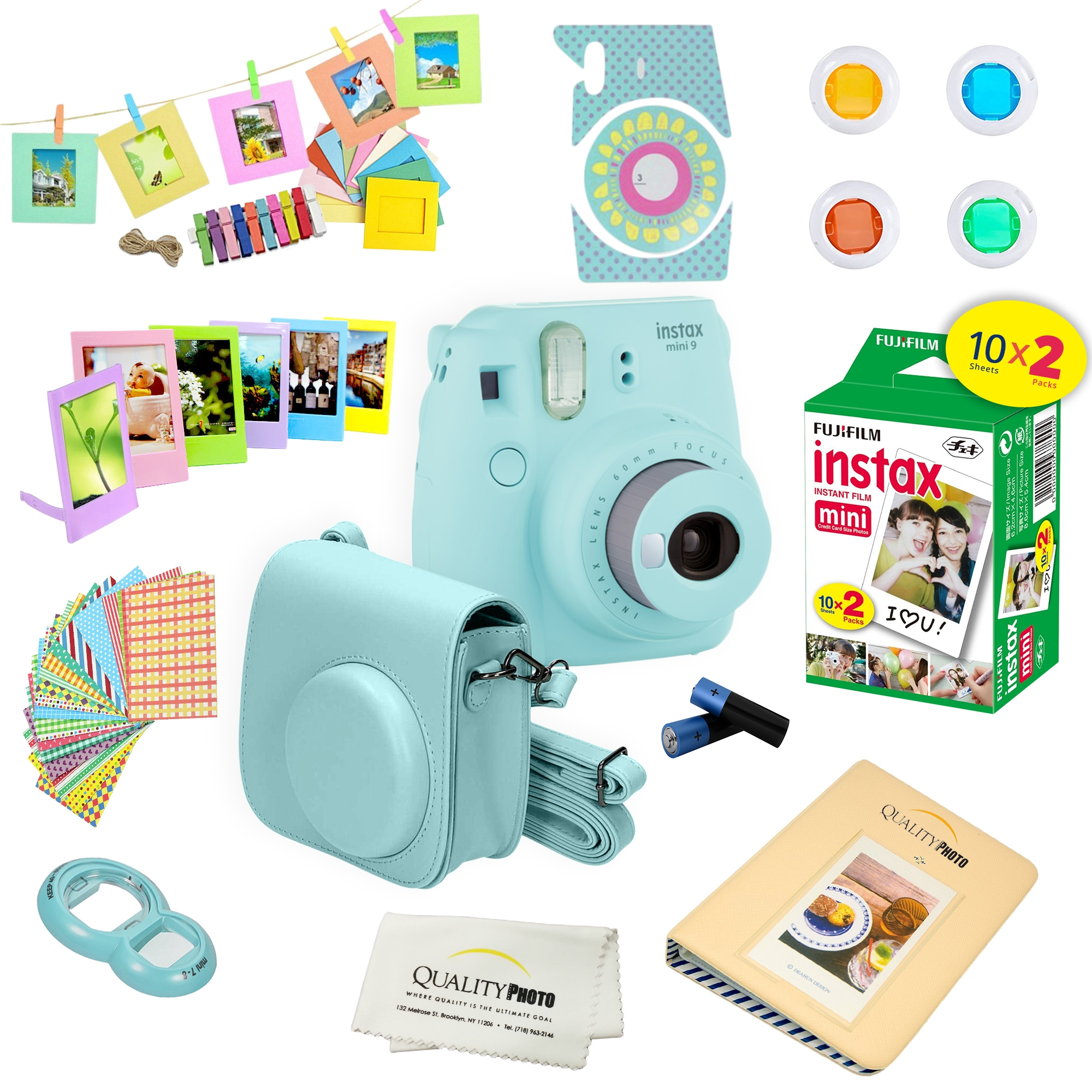 Fujifilm INSTAX Mini Instant Film 2 Pack = 20 Sheets White for Fujifilm Mini 8 /& Mini 9 Cameras
