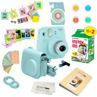 Fujifilm Instax Mini 9 Camera - Ice Blue + Fujifilm Instax mini 9 Instant Films 2-Pack = 20 Sheets + A 15 PC Massive Deluxe Accessory Kit Bundle for Fujifilm instax mini 9 Instant Camera