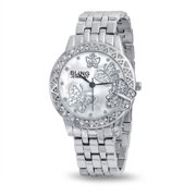 Bling Jewelry Stainless Steel Back Crystal Butterfly Womens Fashion Watch