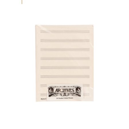 Archives Double-Folded Manuscript Paper Sheets, 8 stave, 24 Sheets (Archives Manuscript Paper)