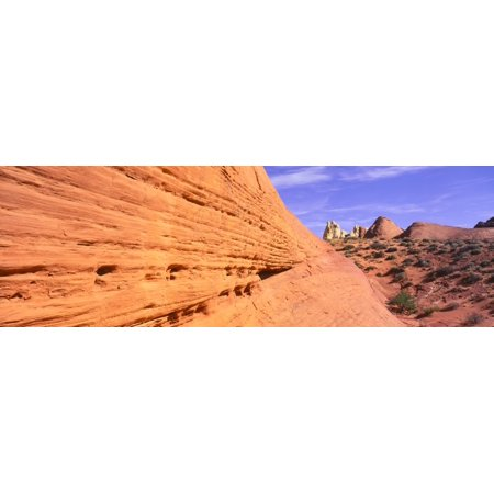 This is Nevadas first state park in red rock country On the left is a wall of sandstone with a view of White Dome Rock Road Canvas Art - Panoramic Images (27 x (Sandstone Wall)