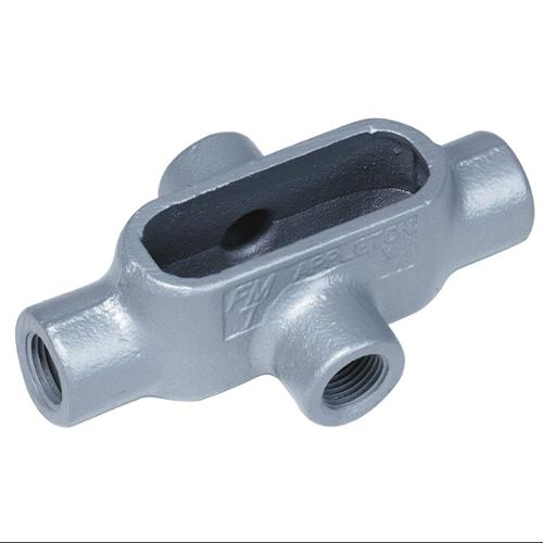Conduit Outlet Body,  Iron,  X Body Style,  Threaded,  Flat Back X47