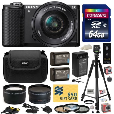 Sony Alpha A5000 20.1 MP Interchangeable Mirrorless Lens Camera with 16-50mm OSS Lens ILCE5000L with 64GB Memory Card + x2 NP-FW50 Battery + Charger + Tripod + 2.2x + .43x + Bonus $50 Gift Card