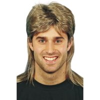 """26"""" Brown and Blonde 1980's Style Decades Mullet Men Adult Halloween Wig Costume Accessory - One Size"""