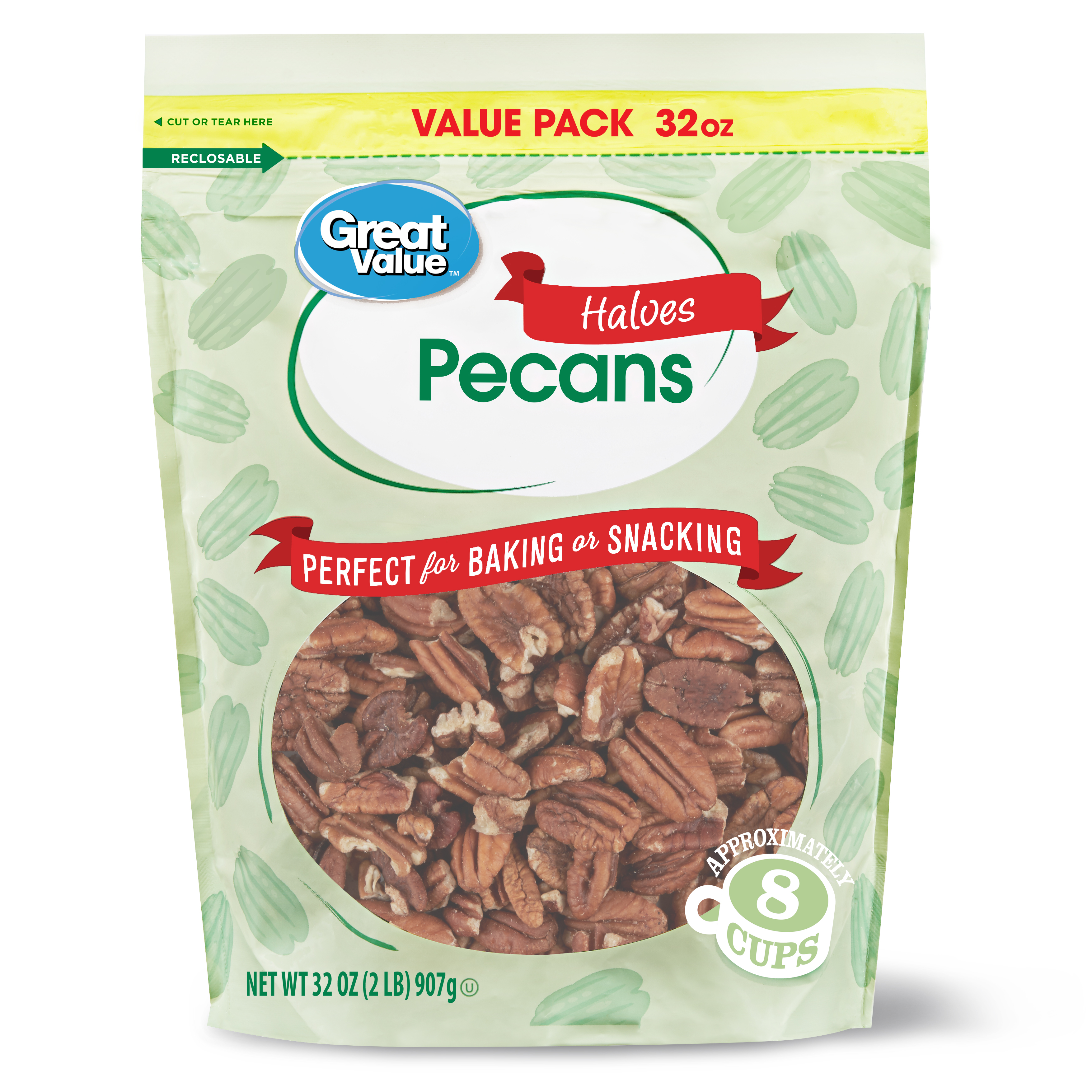 Great Value Pecan Halves, 32 oz