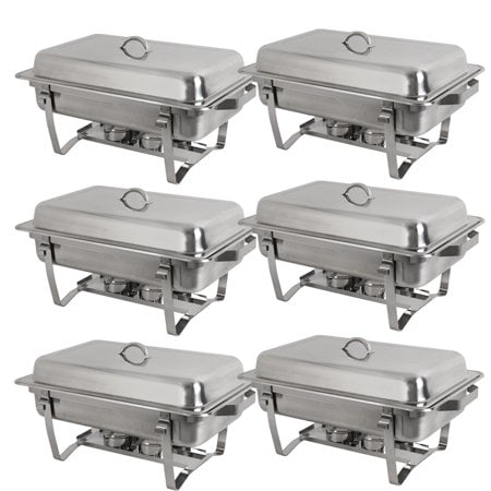 Catering Serving Trays - Zeny Rectangular Chafing Dish 8 Quart Stainless Steel Tray Buffet Catering, Dinner Serving Buffer Warmer Set, Pack of 6