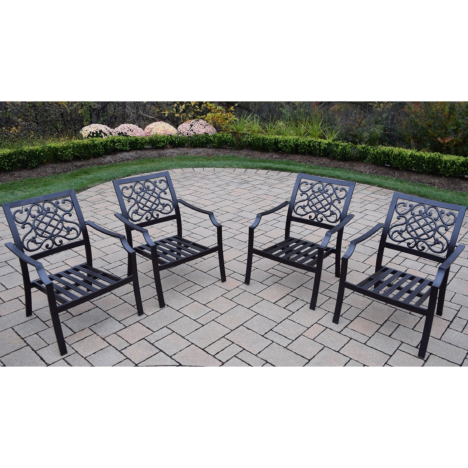 Oakland Living Corporation Premium Stackable Aluminum Deep Seating Chat Chairs (Pack of 4)