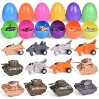 12 PCS Filled Easter Eeggs with Alloy Airplanes and Tanks Easter Basket Stuffers Bulk Prefilled Easter Eggs with Small Toys Inside Party Favors for Kids Toddler Boys and Girls F-565