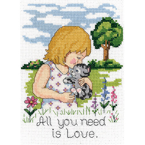 "All You Need Is Love Mini Counted Cross Stitch Kit, 5"" x 7"", 14-Count"