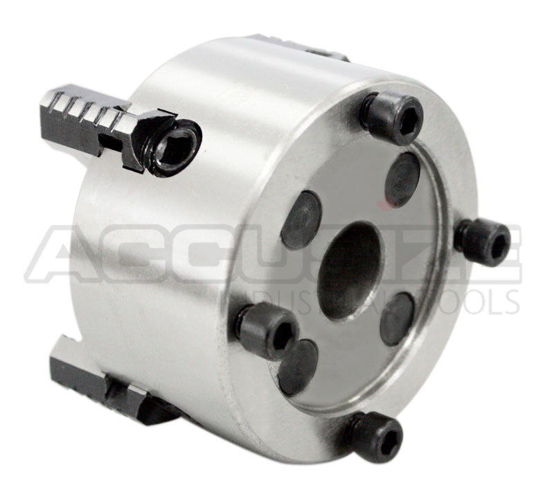 Accusize - 3'', 4'', 6'', 8'' and 10'' 4-Jaw Independent Lathe Chucks, Plain Back. Semi-steel body. Include one set of reversible jaws. (4'') - image 3 of 9