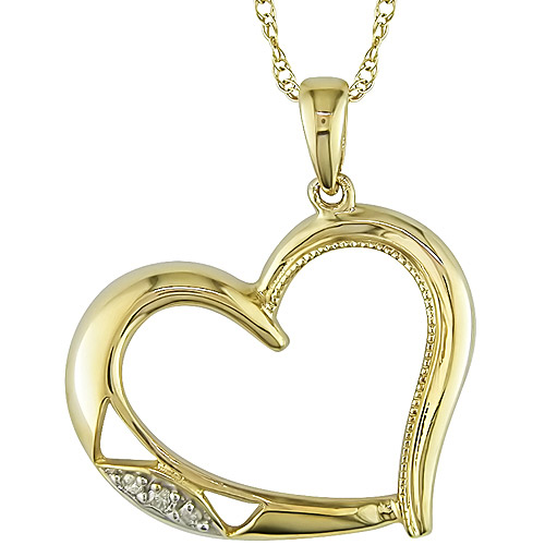 Diamond Accent Heart 10kt Yellow Gold Pendant, 17""