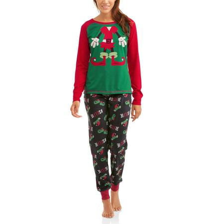Women's Holiday Family Pajamas Elf 2 Piece Sleepwear Set (S-3Xl)