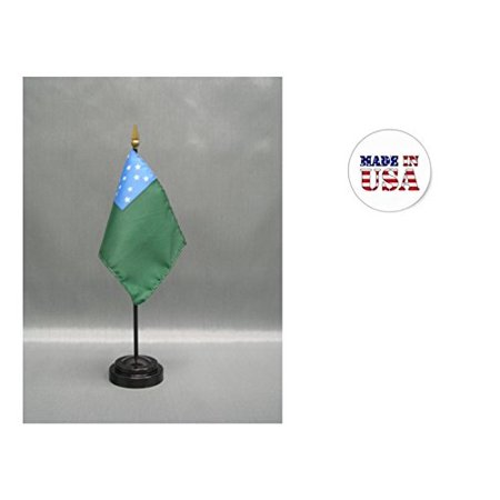 "Image of ""Made in the USA. 2 Green Mountain Boys 4""""x6"""" Miniature Desk & Table Flags Includes 2 Flag Stands & 2 Green Mountain Boys Small Mini Stick Flags"""