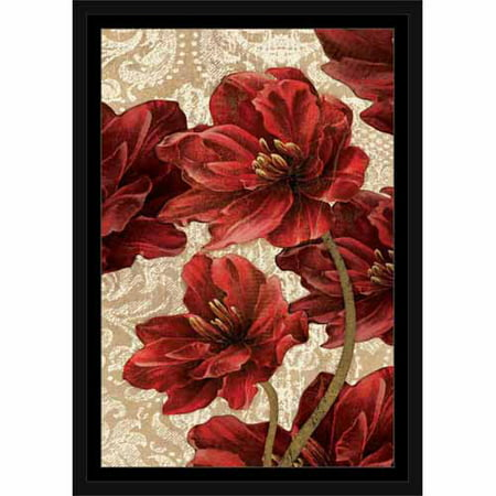 Red Flower Painting - Flower Bunch on Textured Damask Pattern Painting Red & Tan, Framed Canvas Art by Pied Piper Creative