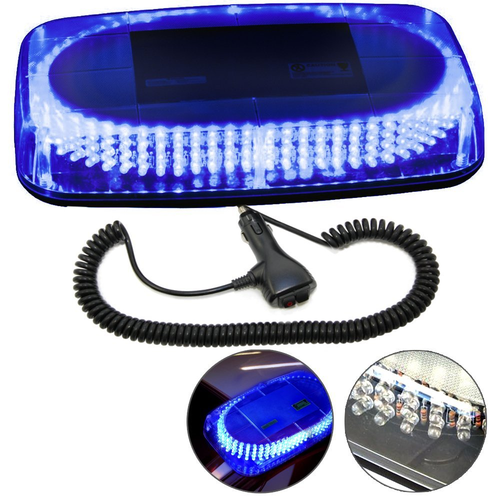 HQRP 240 LED Mini Light Bar Blue Light Hazard Warning / Emergency Strobe Light with Magnetic Base plus HQRP UV Meter