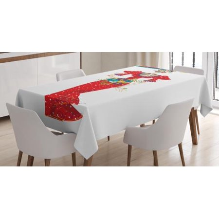 Mayo Table (Sugar Skull Tablecloth, Hispanic Holiday for Cinco de Mayo Figure Calavera Catrina in Vintage Clothes, Rectangular Table Cover for Dining Room Kitchen, 52 X 70 Inches, Multicolor, by)