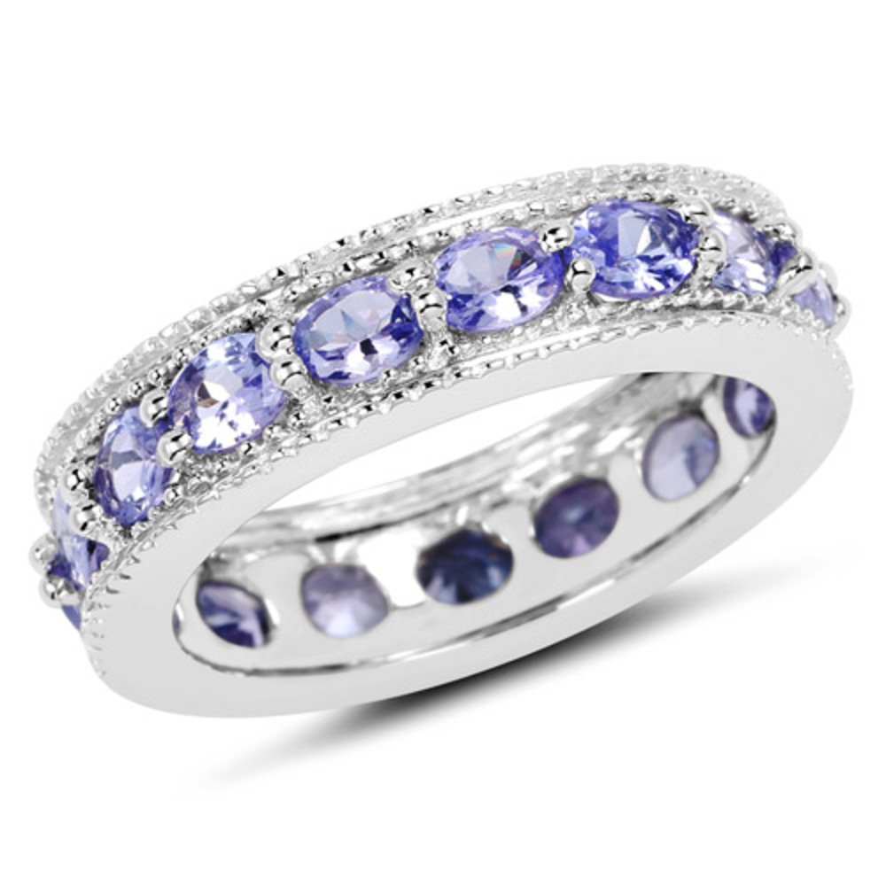 Genuine Oval Tanzanite Ring in Sterling Silver Size 9.00 by Bonyak Jewelry