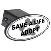 """Save A Life, Adopt, Paw Print 2"""" Oval Tow Trailer Hitch Cover Plug Insert"""