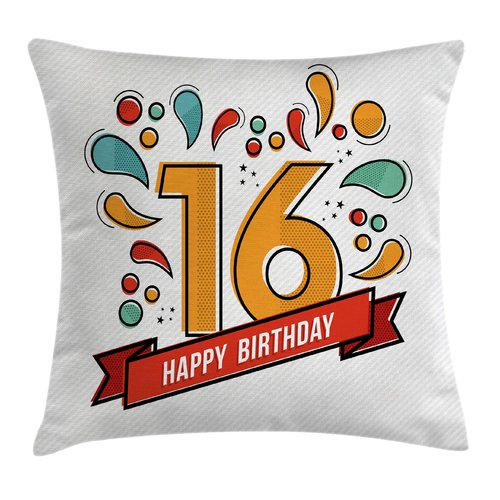 Ambesonne Festive Teen Modern Invitation Square Pillow Cover