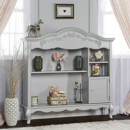 Evolur Aurora Hutch and Bookcase, Akoya Gray (Nursery Hutch)