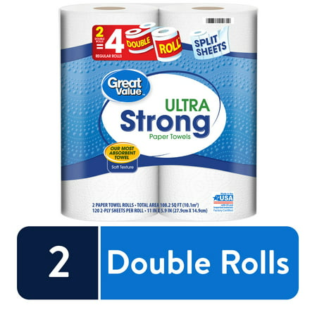 Great Value Ultra Strong Paper Towels, 2 Double Rolls $3.67 and IN STOCK