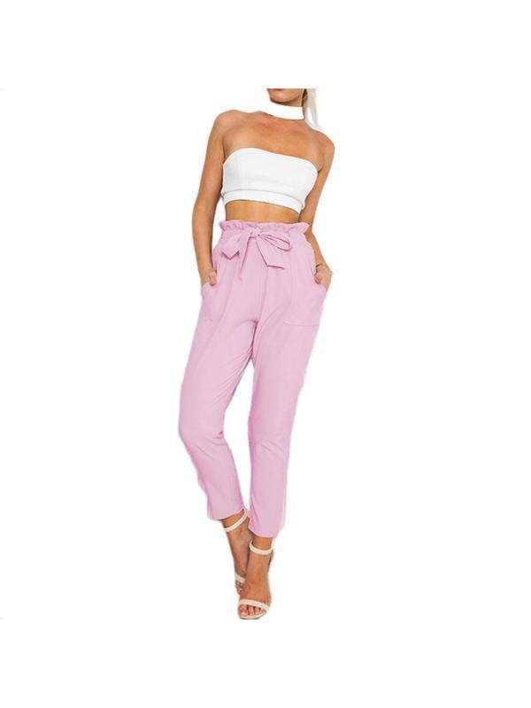 Babula Women Bow Tie Lace-Up High Waist Pants Trousers