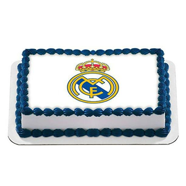 Brilliant Real Madrid Football Club Logo Edible Cake Image Birthday Cake Funny Birthday Cards Online Elaedamsfinfo