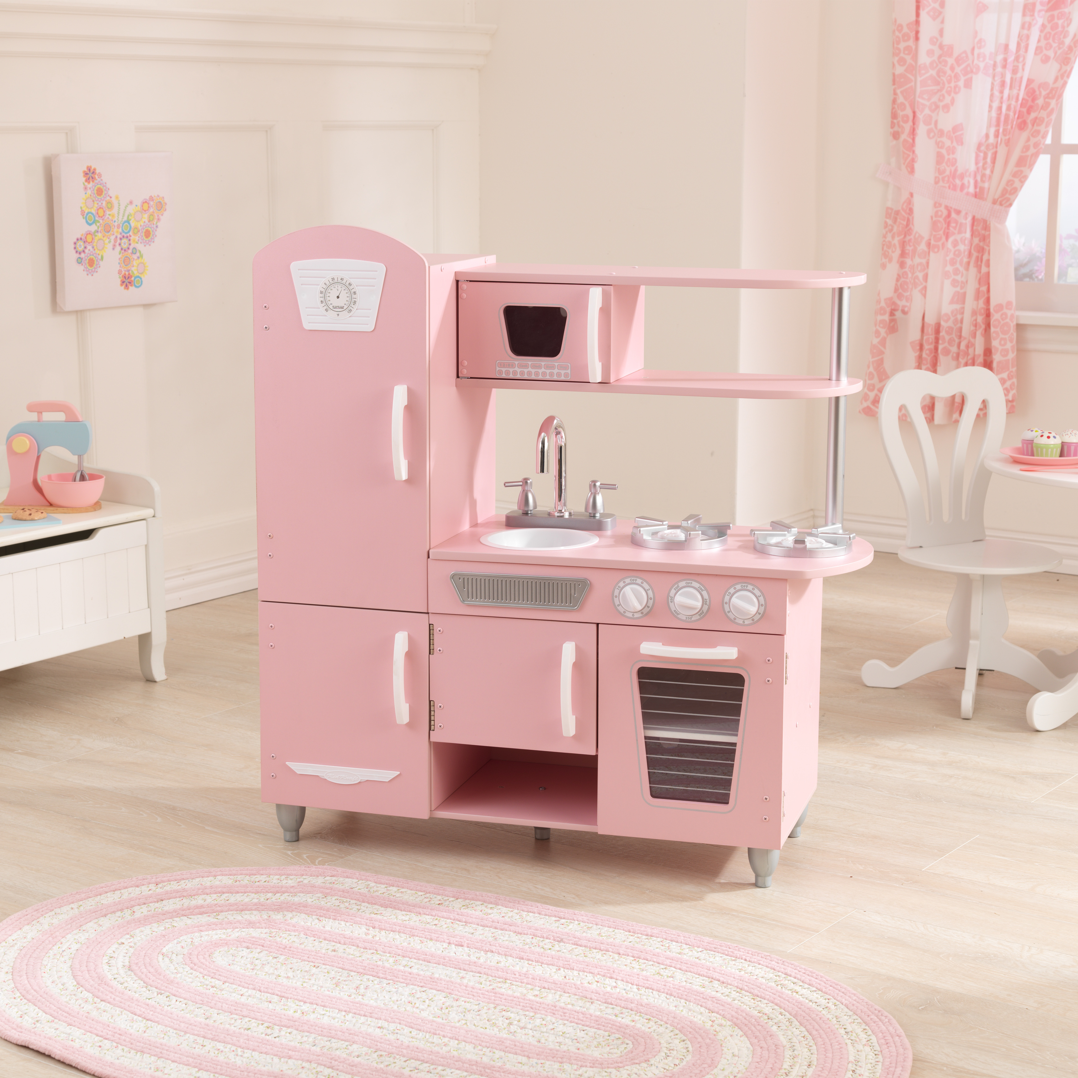 kidkraft vintage play kitchen - pink - walmart
