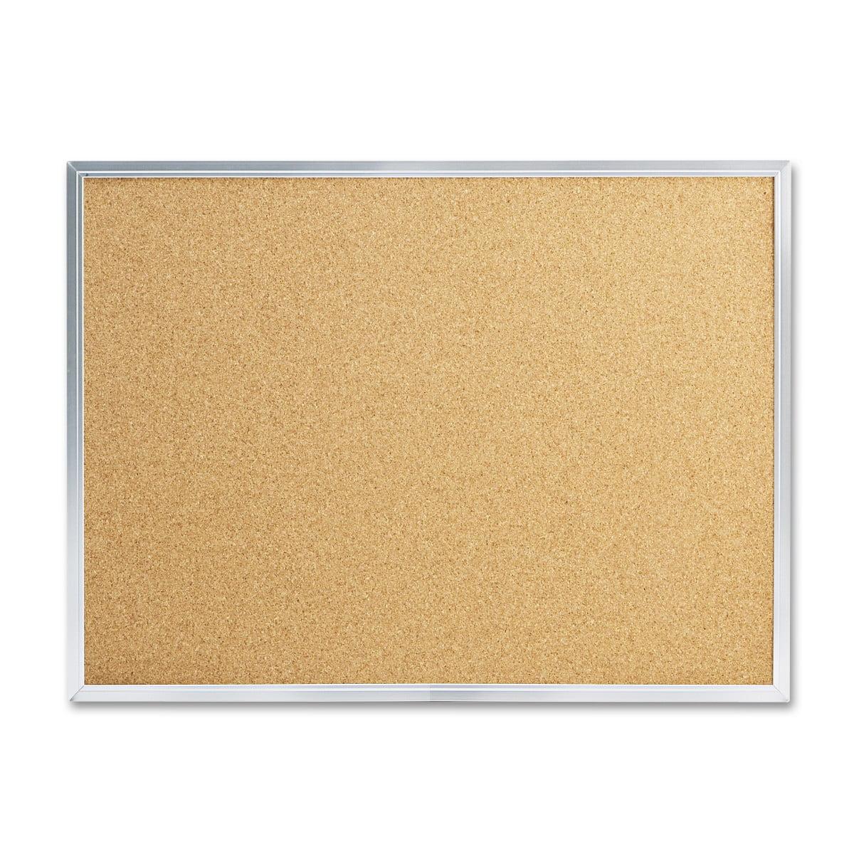 "Mead Cork Bulletin Board, 24"" x 18"", Silver Aluminum Frame"