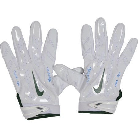 Davante Adams Green Bay Packers Autographed Game-Used White and Green Gloves from the 2018 NFL Season with