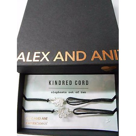 Alex And Ani Kindred Cord  Elephants Sterling Silver Bangle Bracelet