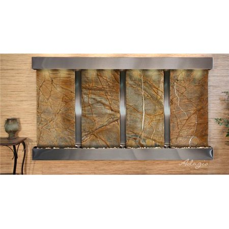 Adagio RFS2006 Regal Falls Square Stainless Steel Brown Marble Wall Fountain - Falls Brown Marble