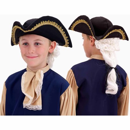 Colonial Hat with Wig Halloween Costume Accessory