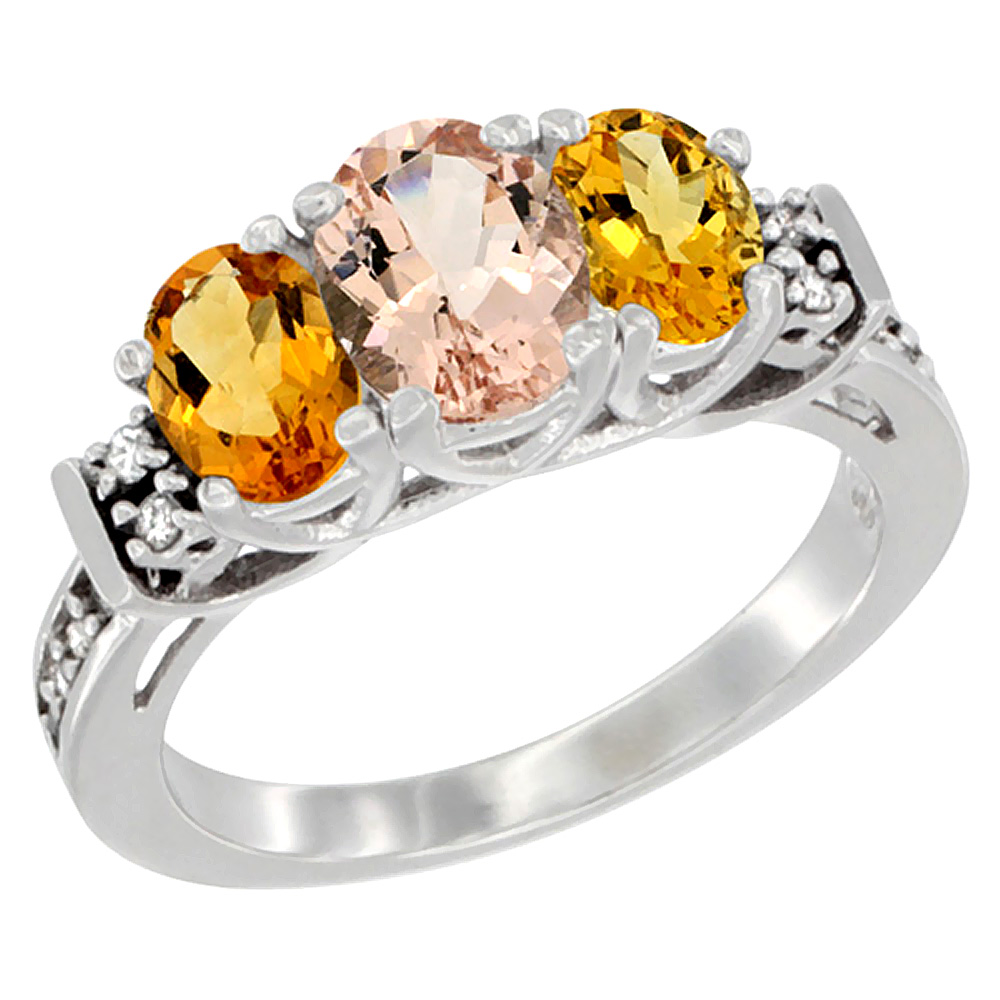 10K White Gold Natural Morganite & Citrine Ring 3-Stone Oval Diamond Accent, sizes 5-10 by WorldJewels