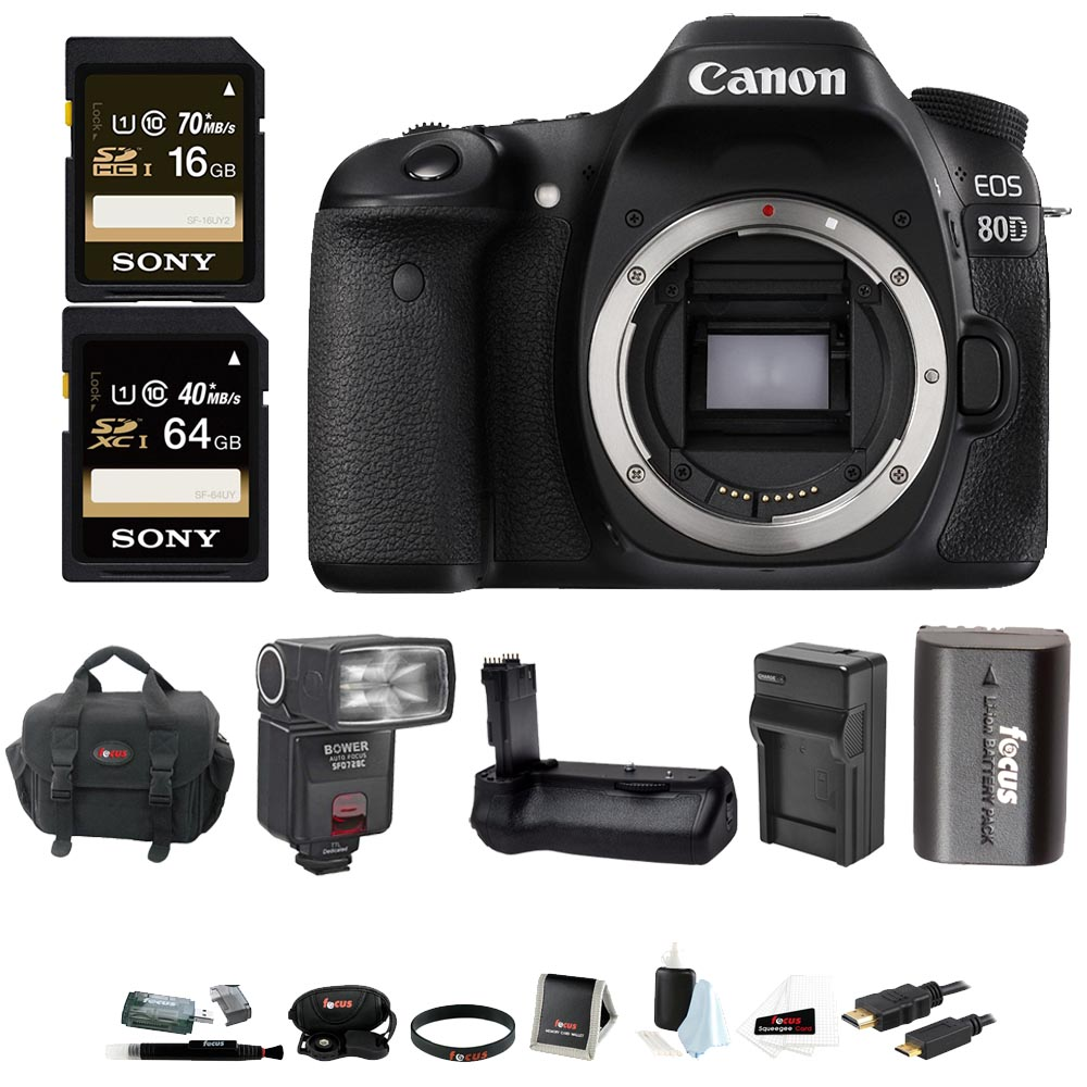 Canon EOS 80D DSLR Camera (Body) with Battery Grip and TTL Flash Bundle