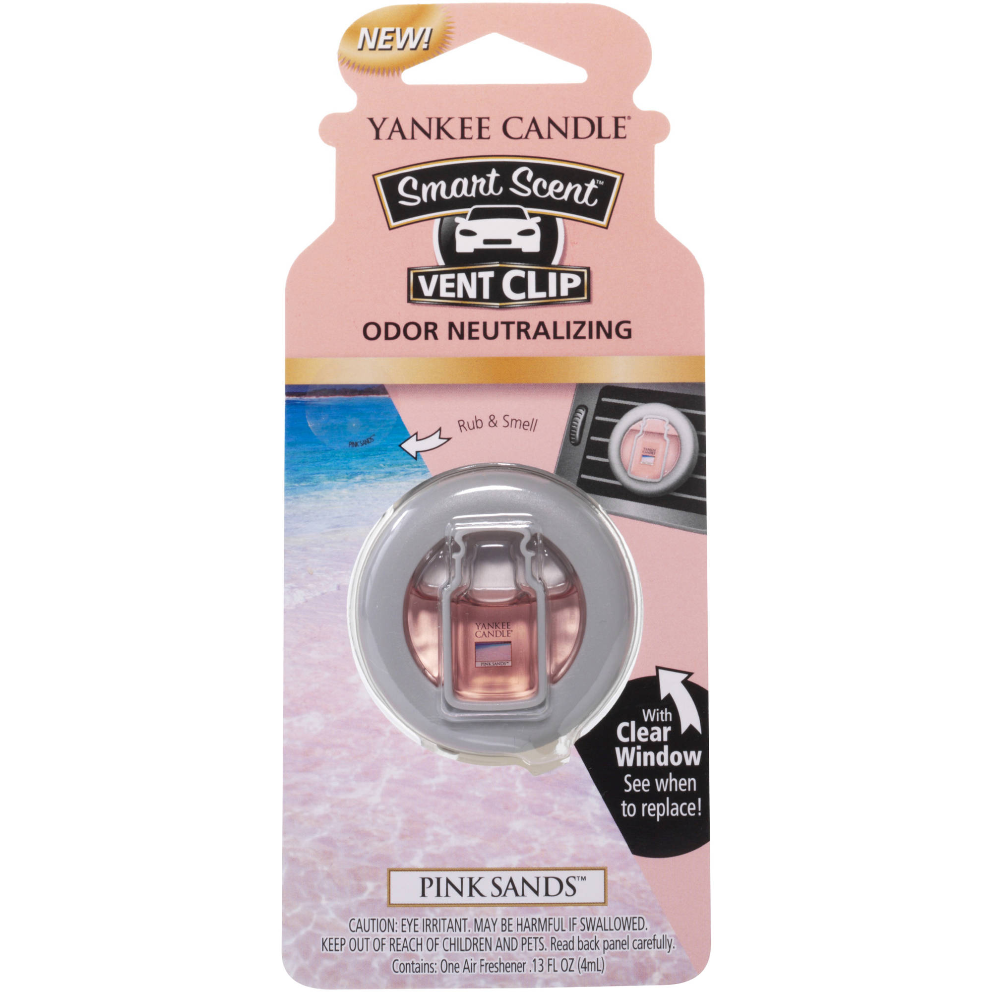 Yankee Candle Smart Scent Vent Clip Pink Sands Air Freshener, 0.13 fl oz