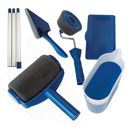 Paint Roller Kit 8 Pcs Paint Runner Set Paint Runner Pro Paint Roller Brush Handle Tool Flocked Edger Corner Cutter Home Office Wall Printing Tool Set